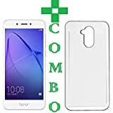 Honor Holly 4 Plus, Tempered Glass & Back Cover, 'COMBO OFFER' Premium Real 2.5D 9H [ 5.5 Inch ]Anti-Fingerprints & Oil Stains Coating Hardness Screen Protector Guard For Honor Holly 4 Plus