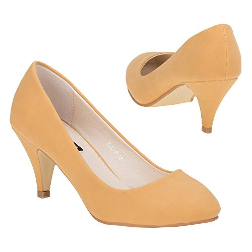 Damen Schuhe, 2033-P, PUMPS Camel