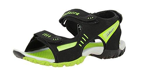 Salvezza Men's Black and Parrot Green Sandals - 6 UK/India (40 EU)(RS-102)