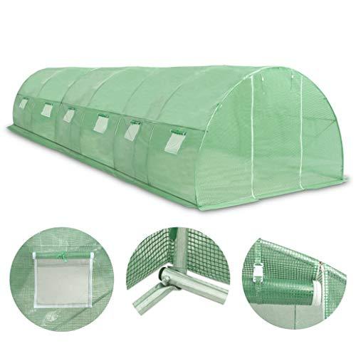 Festnight- Gewächshaus mit Stahlfundament Gartenhaus Tomatenhaus Frühbett mit 2 Seitenfenstern und...