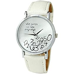 Mallom® New Arrival New Women Leather Watch Who Cares I am Late Anyway Letter Watches White