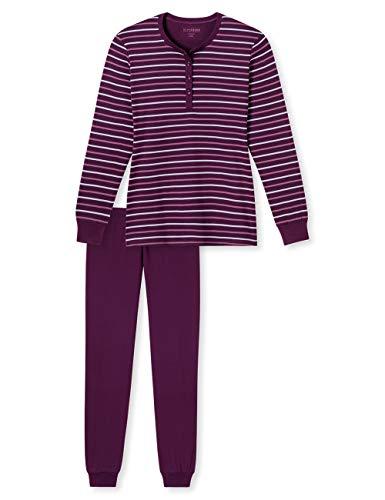 Schiesser Damen Zweiteiliger Schlafanzug Anzug lang, Rot (Bordeaux 502), 48