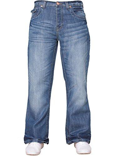 Bootcut Weites Bein Jeans (NEU Herren Designer einfach Bootcut ausgestellt weites Bein blau Jeans alle Hüfte Größen - LIGHTSTONE WASCHUNG, 36 W X 34L)