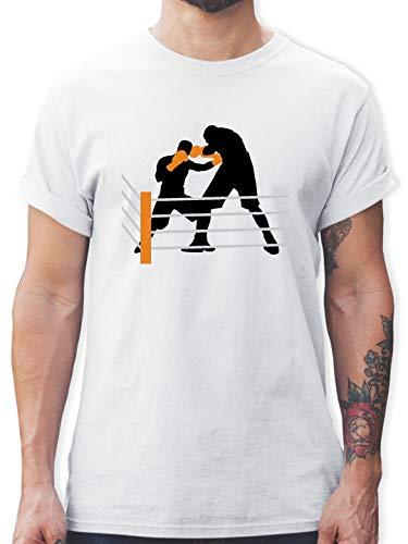 Kampfsport - Boxen im Ring Boxkampf - 3XL - Weiß - L190 - Tshirt Herren und Männer T-Shirts