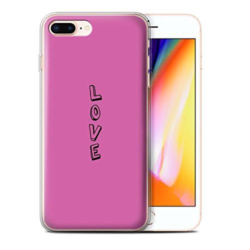 Stuff4 Gel TPU Hülle / Case für Apple iPhone 8 Plus / Blau/Chic Muster / Gekritzel Wörter Kollektion Rosa/Liebe