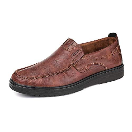 gracosy Herren Leder Freizeitschuhe Mokassin, Flache Loafers Schuhe Halbschuhe Boots Freizeitschuhe, Braun B, 48 EU (Herstellergröße: 290) -