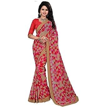 Dhandai Fashion Georgette Multi Color Gold Lace Work Saree With Blouse Piece (Sari_Multi Colored_Saree)
