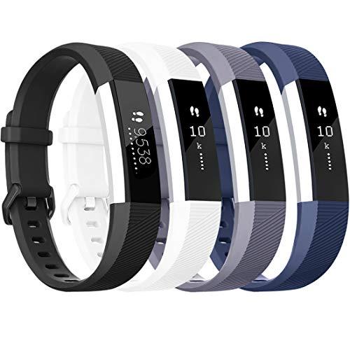 Tobfit für Fitbit Alta HR Armband, Verstellbare Ersatz Weich Sport Armband für Fitbit Alta HR und Fitbit Alta (Keine Uhr) (4-Pack Schwarz+Blau+Grau+Weiß, S)
