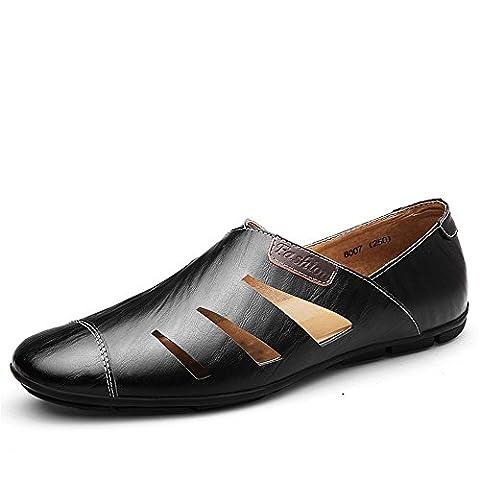Männer leichte Slip-On Casual Schuhe Herren Perforiert Mokassins(46,Schwarz) (Schwarz Glatt Mokassin)