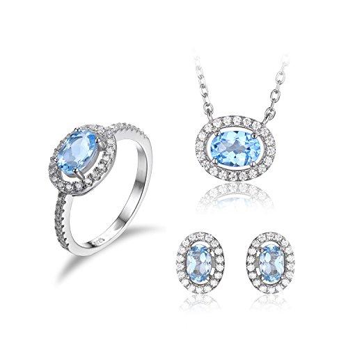 Topas Schmuck Blauer (JewelryPalace Oval Natürliche Blau Topas Schmuck-Sets 925 Sterling Silber ohrstecker Solitär Anhänger Halsketten Ring Damen-Schmuckset)