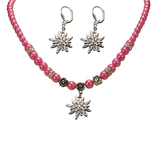 Alpenflüstern Trachtenschmuck-Set Perlen-Trachtenkette und Trachten-Ohrhänger Strass-Edelweiß - Damen-Trachten-Schmuck, -