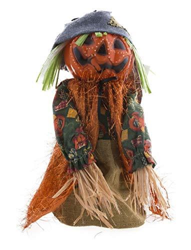 toybakery - Halloween Dekoration, Deko Vogelscheuche in Kürbis-Stil mit Musik, Scarecrow Pumpkin with Music, ideal für Jede Halloween Party / Feier, Orange