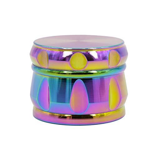 MASII Molinillo De Tabaco 4 Capas Azul Hielo Color del Arco Iris Aleación De Zino Forma De Diamante Chaflán Lado Cóncavo Molinillo De Hierbas
