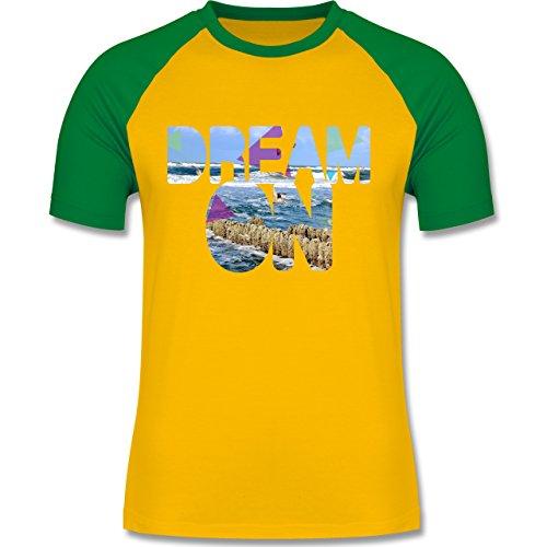 Statement Shirts - Dream On Strand Meer - zweifarbiges Baseballshirt für Männer Gelb/Grün