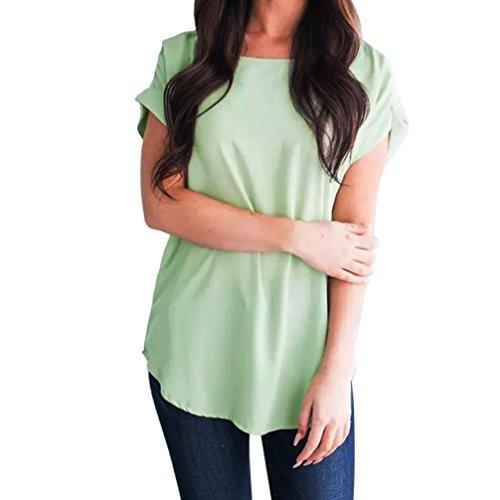 ESAILQ Damen Sommer Frauen Bluse Weg von der Schulter Short Sleeve Feder  Druck Muster Jumper Tops Pullover T-Shirt(XL,Grün) 9a33bf50d4