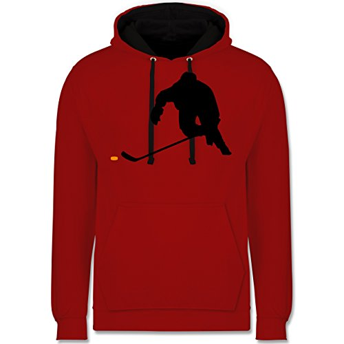 Shirtracer Eishockey - Eishockey Sprint - L - Rot/Schwarz - JH003 - Kontrast Hoodie