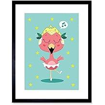Wee Blue Coo Kawaii Flamingo Ballet Art Print Framed Poster Wall Decor 9x7 Inch