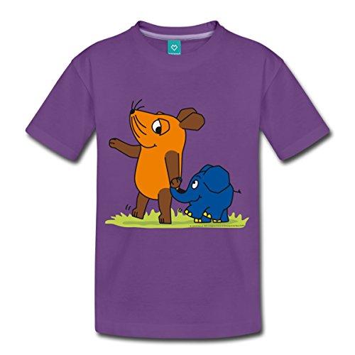 Spreadshirt Sendung Mit Der Maus Elefant Und Maus Hand In Rüssel Kinder Premium T-Shirt, 110/116 (4 Jahre), Lila (Einheitliche T-shirt Lila)