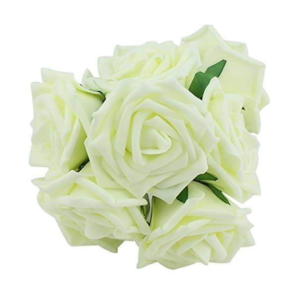 Demarkt 10pcs clásica Blanco púrpura rosado beige de marfil Rose Flores para la dama de honor ramo de novia (Beige 01)