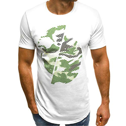 Yvelands Herren T-Shirt Druck Camouflage Gradient Lässige Mode Revers Kurzarm Hemd Bluse Weste ()