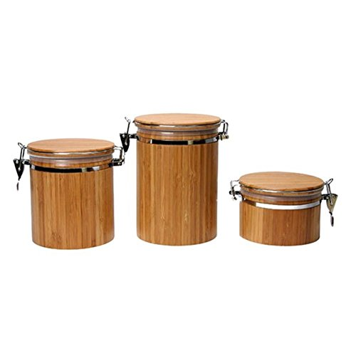 Bambus Kanister, Bambus Jar, Bambus Lebensmittel Vorratsdose Kanister mit Deckel, Bambus Salz Box...