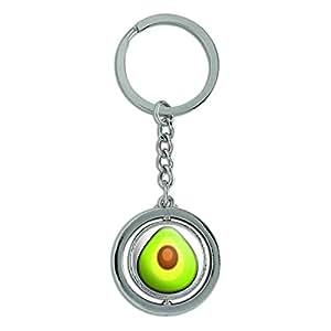 Avocado Spinning Round Metal Key Chain Keychain Ring