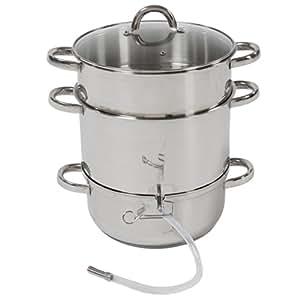 TecTake Cuiseur-vapeur et extracteur de jus Ø 26 – (tout feux dont induction) - Acier inoxydable AISI 430