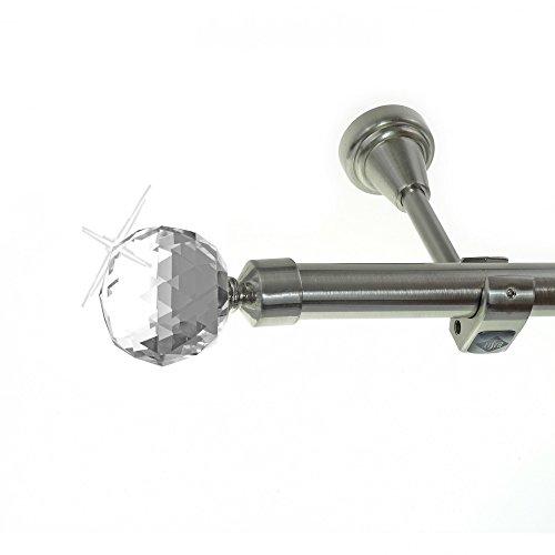 Edelstahl Look Gardinenstange 20mm Wandträger 1-läufig, Kristall Disco Kugel, Länge wählbar H50 E87 R, Länge:280 cm