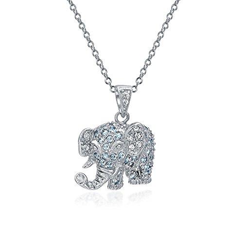 Bling Jewelry Aqua Azul Gris Pave CZ Collar Colgante Elefante De Buena Suerte Mujer Novia Pulido con Cadena De Plata Esterlina 925