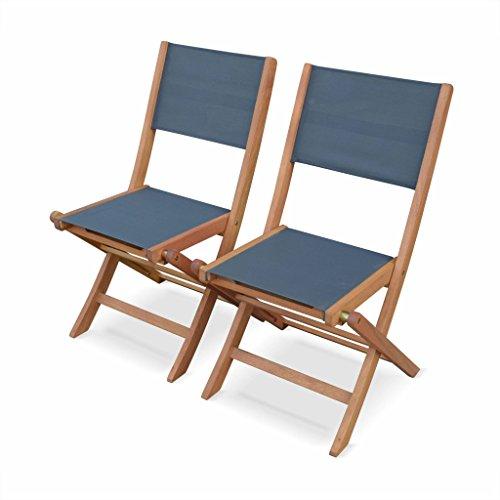 Alice's Garden - Chaises de Jardin en Bois et textilène - Almeria Gris Anthracite - 2 chaises Pliantes en Bois d'Eucalyptus FSC huilé et textilène