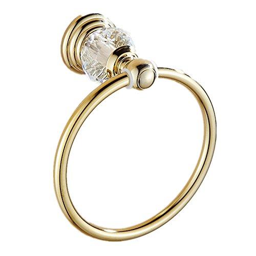 auswind Gold poliert Edelstahl Kristall Handtuch Ring Wand montiert Badezimmer Zubehör Set lk28 -
