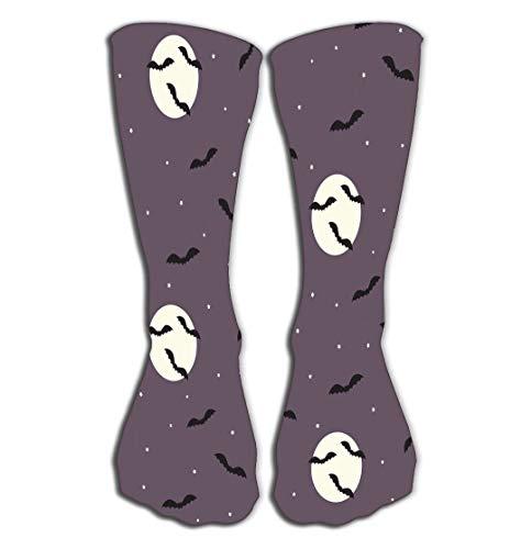 Xunulyn Hohe Socken Outdoor Sports Men Women High Socks Stocking Halloween Bats Night Sky Creepy Scene Flying Moon Stars Design Kawaii Tile Length 19.7