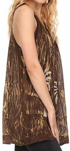 Sakkas Loonmiya Long Tall gestickte Batik ärmel Tank Top-Hemd-Bluse Top Choclate