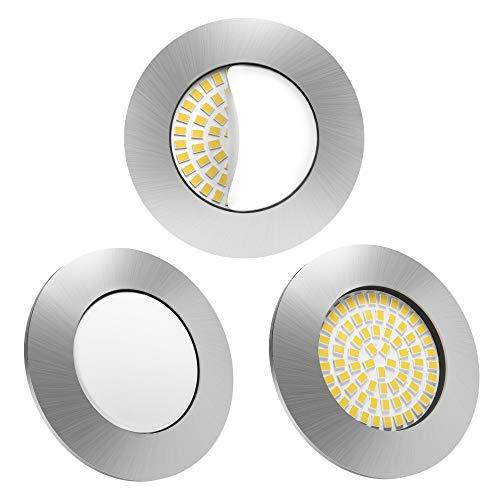 LED Einbaustrahler 3er Set von Scandinavian home | LED Spot Deckeneinbauleuchte ultra flach Badezimmer geeignet | 5W 500lm 3000K warmweiß 60-68mm 220 / 230V A++ | rundes Edelstahldesign - Milchglas (3 Lampen-set)