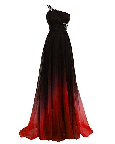 YipGrace Donna Gradiente Di Colore Prom Abito Di Perline Palla Abito Rosso