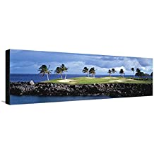 Golf Course at the Seaside, Hawaii, USA Leinwand von Panoramic Images - 30x91 cm