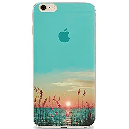 Cover Per iPhone 8 / iPhone 7 4.7 Bling Glitter, Custodia Design Emoticon multicolore Trasparente Plastica Con Sabbia Mobili Blu Brillanti ,Vandot Shell 3D Quicksand Case Con Stella Fluente Liquido S landscape 12