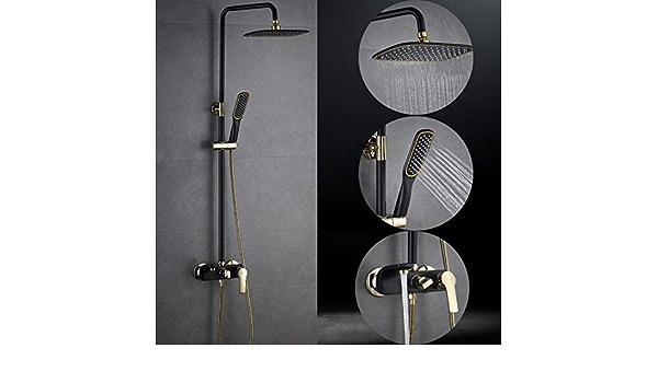 FuAo Moderne Colonne de Douche Noir Set de Douche Complet Multifonctionnel avec Douchette et Tuyau pour Salle de Bain Ensemble de Douche avec mitigeur