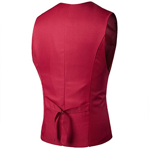 Zhuhaitf weich Men's High Quality 3 Buttons Single-Breasted Skinny Dress Vest Red