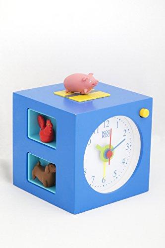 KOOKOO KidsAlarm Blau Wecker für Kinder mit 5 Magnettierchen und 5 Tierstimmen Kinderwecker Holz Wecker Naturaufnahmen