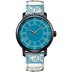 Armbanduhr Vintage Retro Blume Damen Basel-Stil geometrischen Fancy Leather Quarz Uhr Lederarmband Uhr Top Watch Vintage Waves iCreat