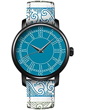 Armbanduhr Vintage Retro Blume Damen Basel-Stil geometrischen Fancy Leather Quarz Uhr Lederarmband Uhr Top Watch...