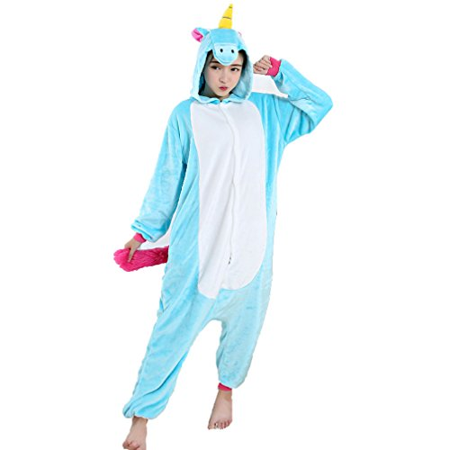 Z-Chen Disfraz de Pijama Animales para Unisex Adulto, Unicornio Azul, S (Altura: 150-160cm)