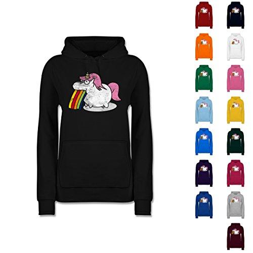 Comic-Shirts-Kotzendes-Einhorn-Vintage-Damen-Premium-Kapuzenpullover-Hoodie
