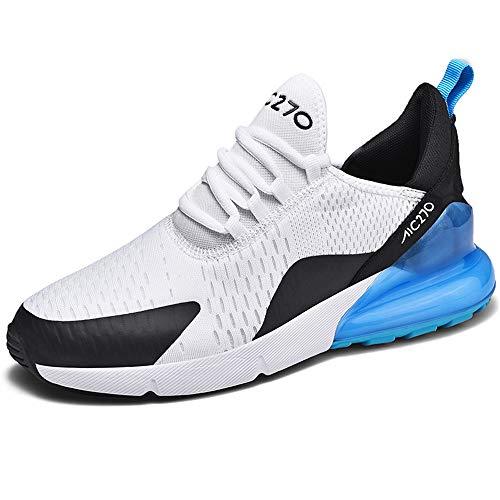 XPERSISTENCE AIR Turnschuhe Herren Damen Sneaker Atmungsaktiv Laufschuhe rutschfeste Fitness straßenlaufschuhe Sportschuhe,Weiß/Blau 36-47 EU