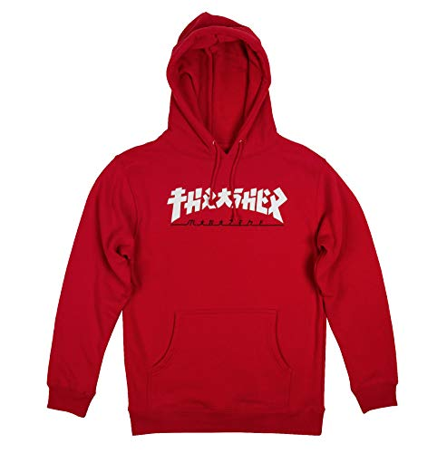 Thrasher Godzilla Sweat à Capuche Rouge, Rouge, Medium