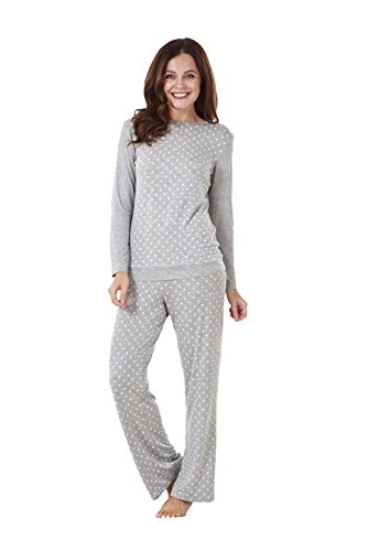 - 41mpxhDmEGL - Ladies Soft Pyjama Set Womens Long Sleeve Spots Lounge Wear Nightwear