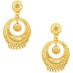 Shining Jewel Traditional Gold 24K Chandbali Earrings (SJ_758)
