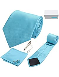 Coffret Cadeau Varadero - Cravate bleu céruléen, boutons de manchette, pince à cravate, pochette de costume