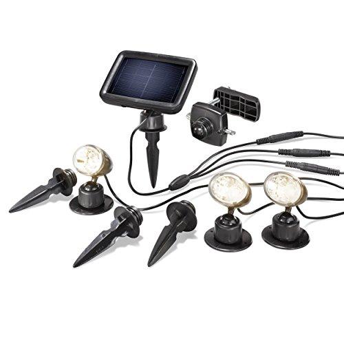 Solarspot Trio Professional warmweiß 3500K mit drei Spots, 15lm Lichtstrom je Strahler, hochwertiges und witterungsbeständiges Echtglas-Solarmodul esotec 102540